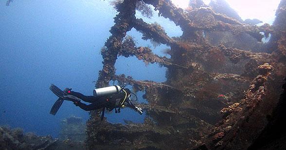 A SCUBA Diver in the Liberty Wreck outside Tulamben, Bali