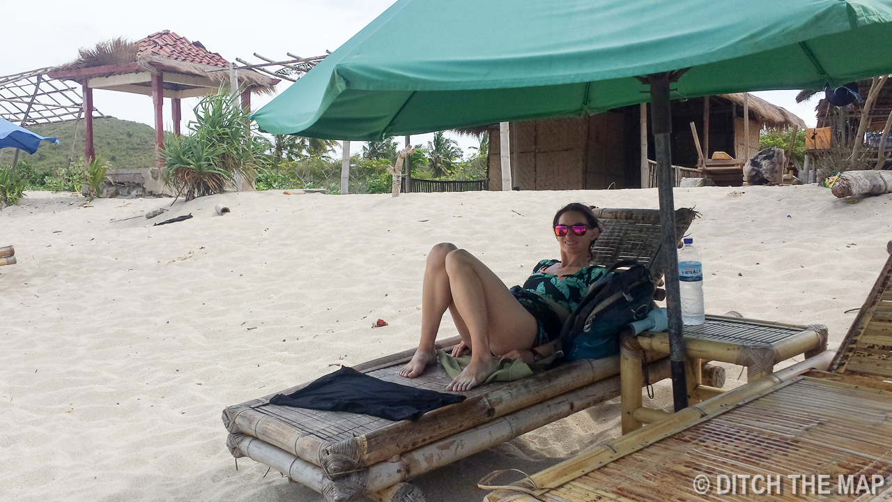 Sylvie Relaxing at Mawun Beach in Lombok, Indonesia