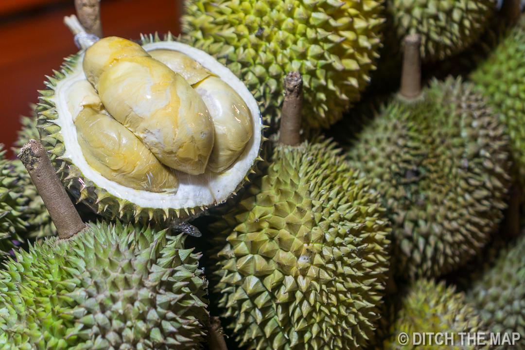 """Durian, The """"King of Fruit"""", in Kota Kinabalu, Sabah, Borneo, Malaysia"""