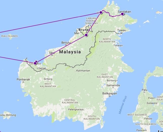 Our Route Through Borneo