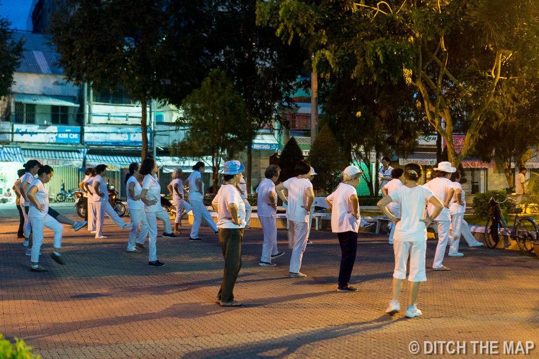 One of Many Exercise Groups Early in the Morning in Can Tho, Vietnam