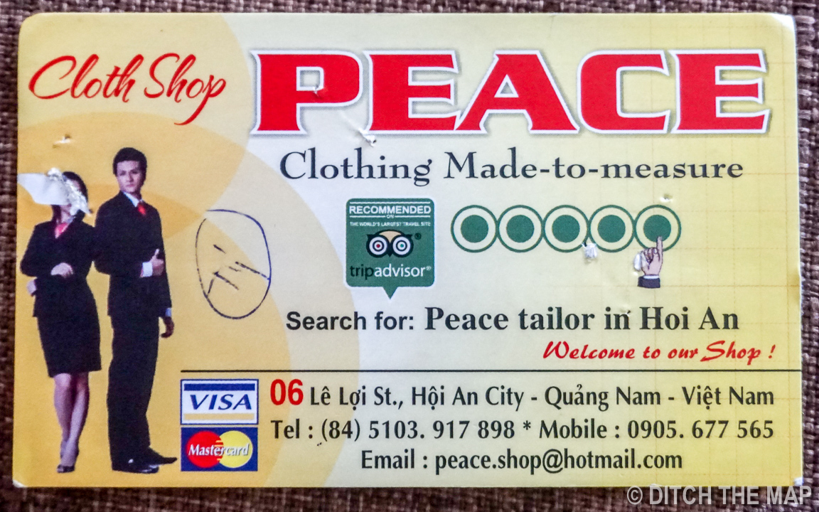 Peace Tailor    Business Card (front)
