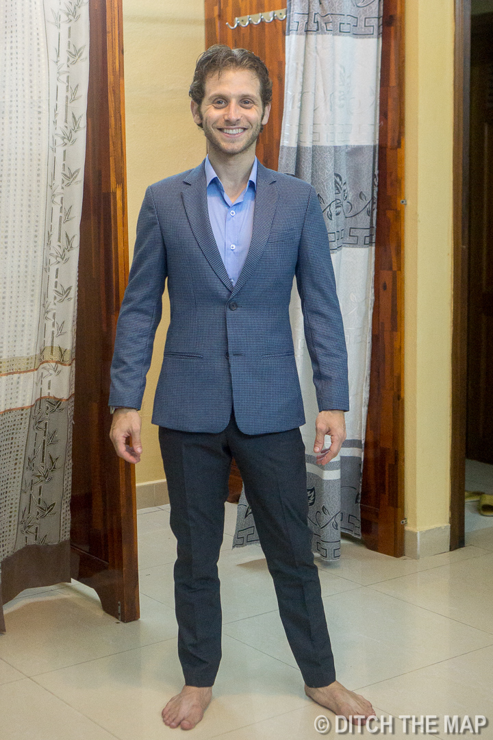 First Finished Blue Sports Coat Hoi An, Vietnam