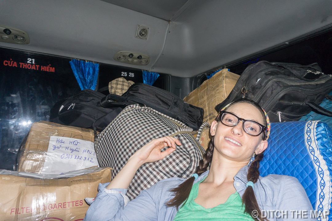 Sylvie Crammed in Back with the Luggage on our Bus from Dong Van to Ha Giang, Vietnam