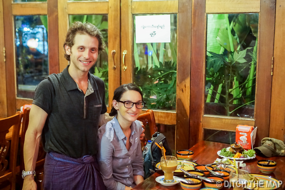 Enjoying Our First Good Meal in Myanmar