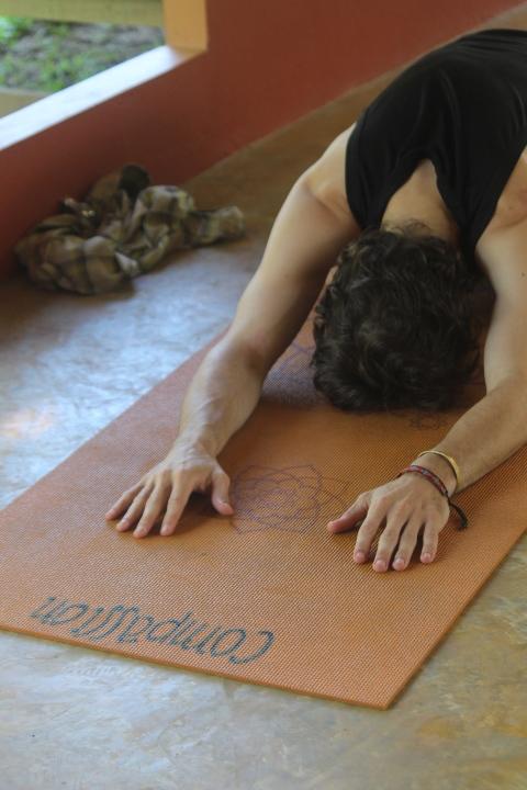 Child's Pose at Xhale Yoga Retreat, Pai, Thailand