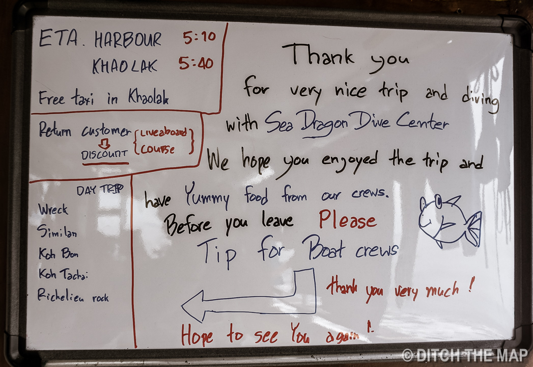 Goodbye Message from Dive Masters