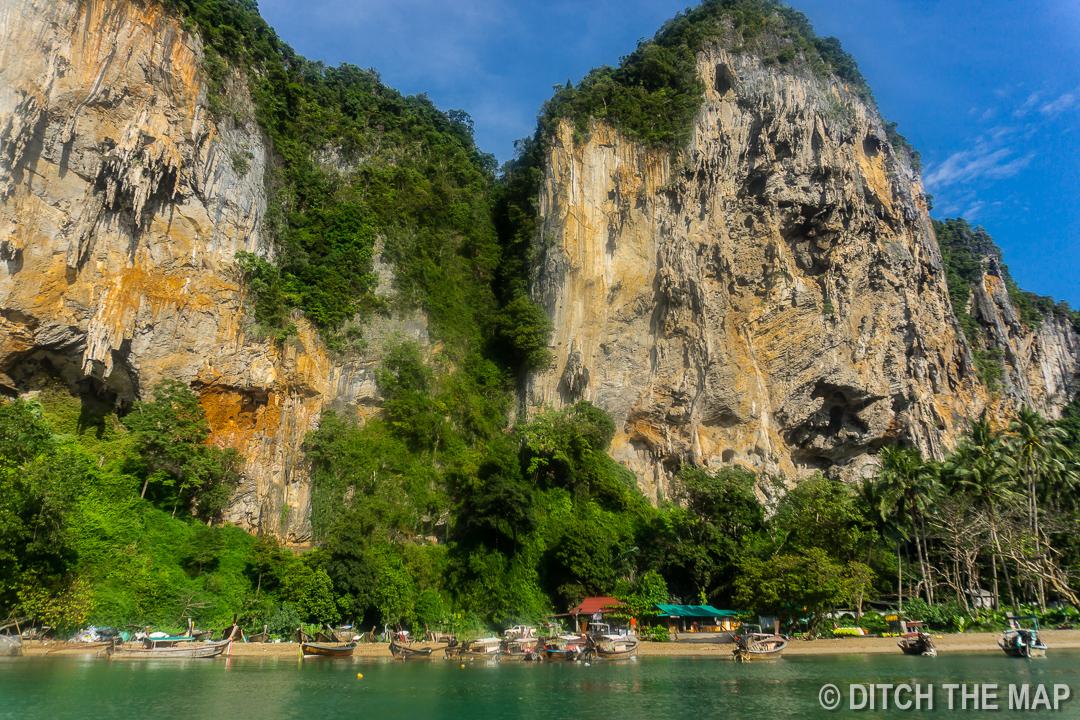 Large Limestone Karst Formations at Railay Beach, Krabi, Thailand