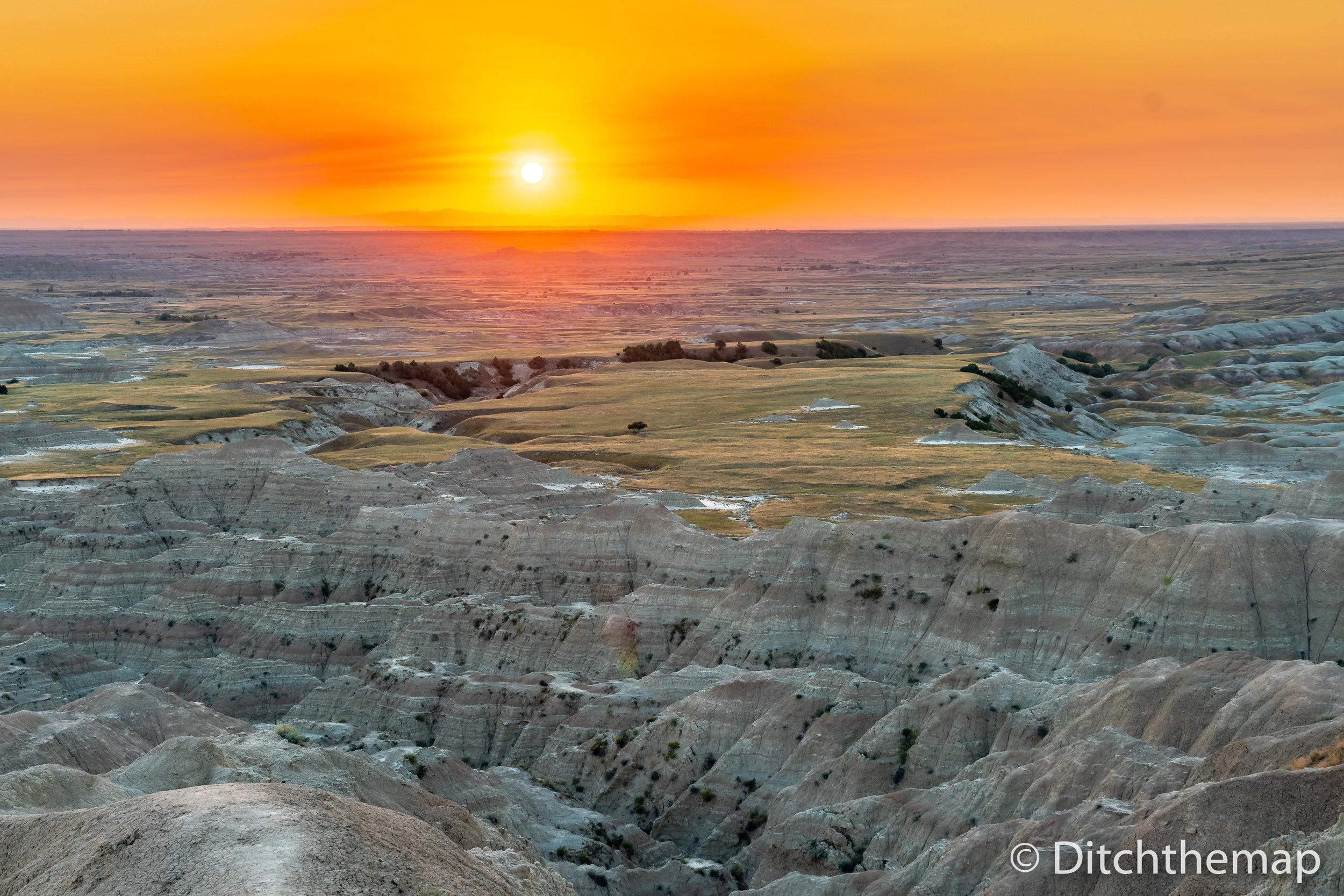 Sunset over Badlands National Park, South Dakota