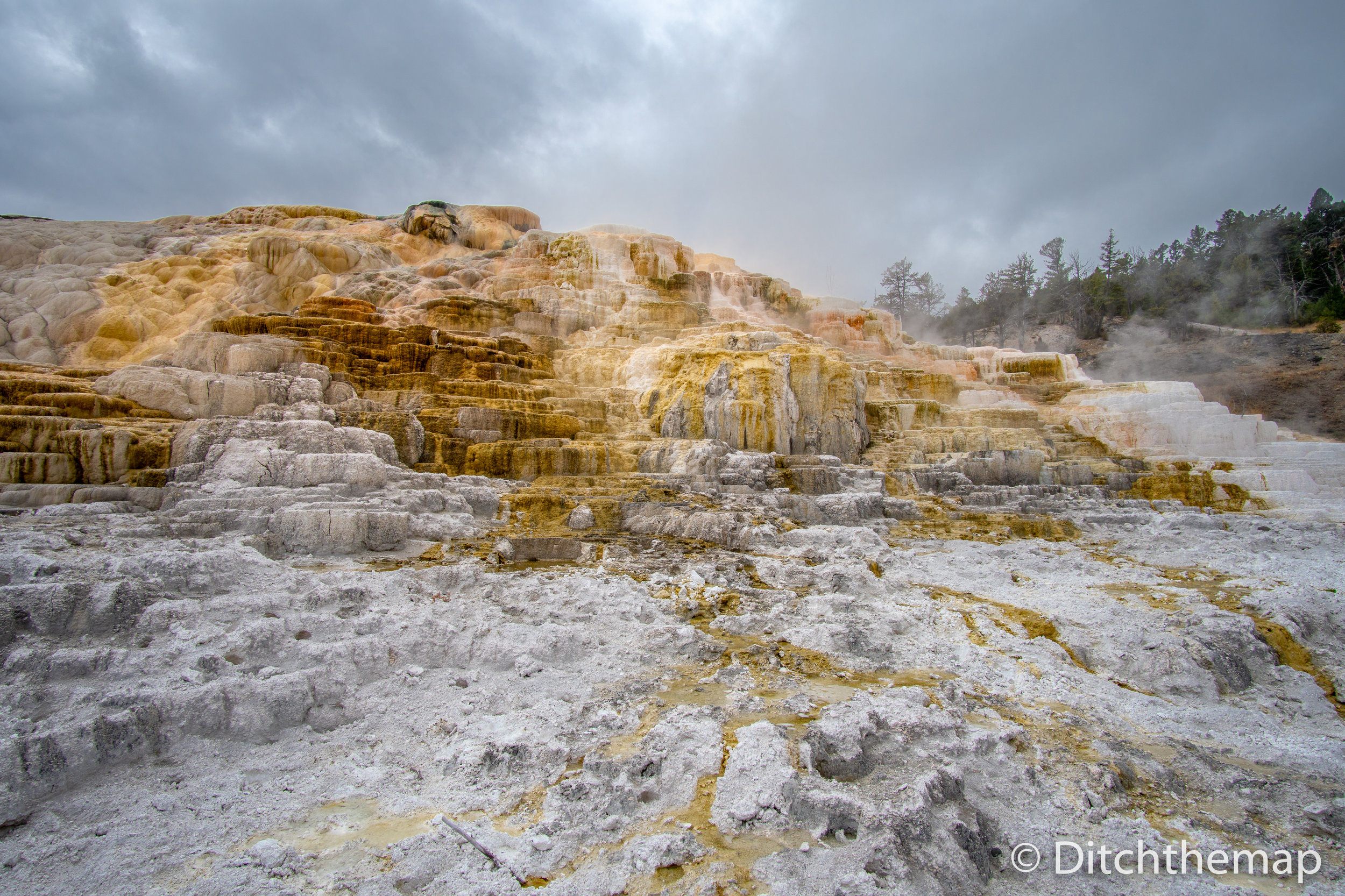 Colorful Mammoth Springs geothermal feature in Yellowstone NP