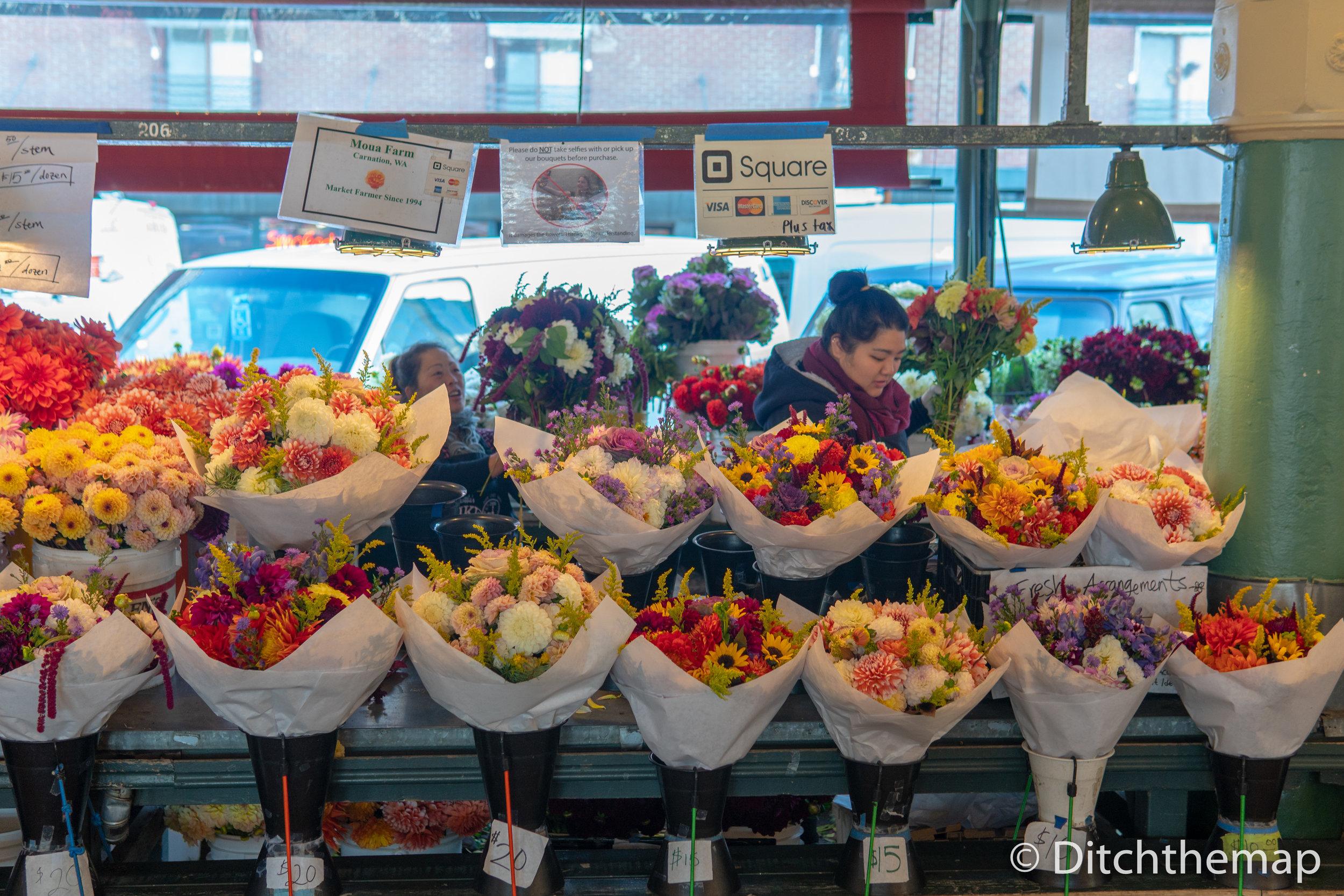 Flower shop inside Pike Place Market