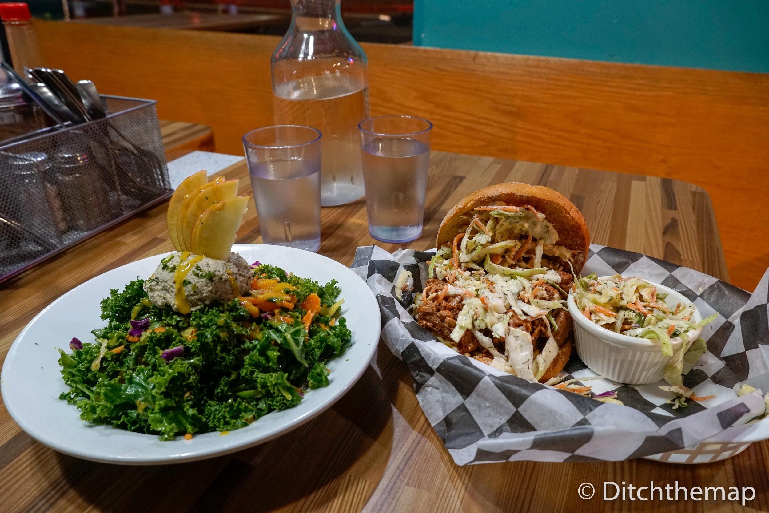 BBQ Jackfruit Sandwich & Goddess Bowl (Kale Salad)
