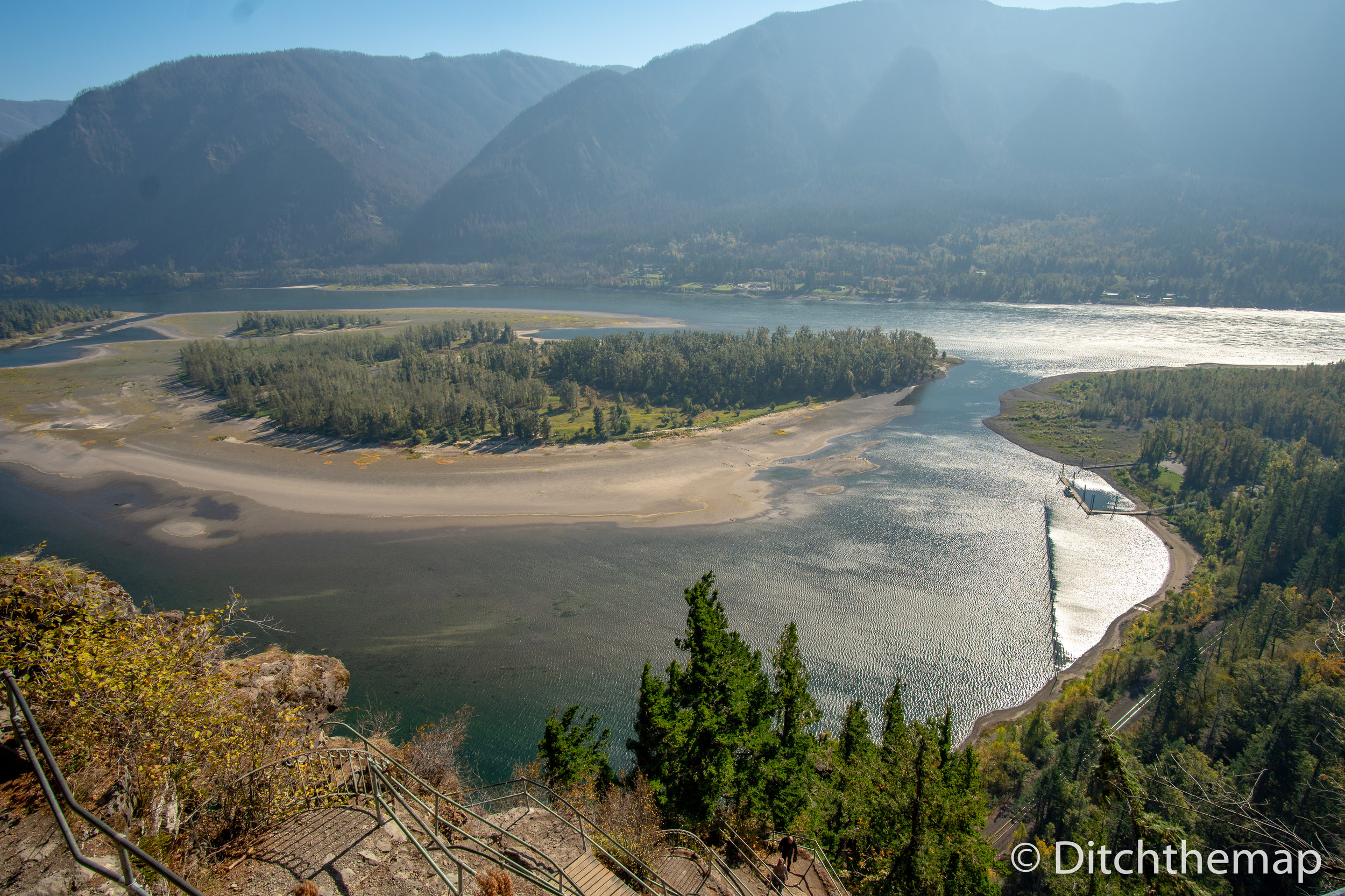 Panoramic landscape of Columbia River and Gorge