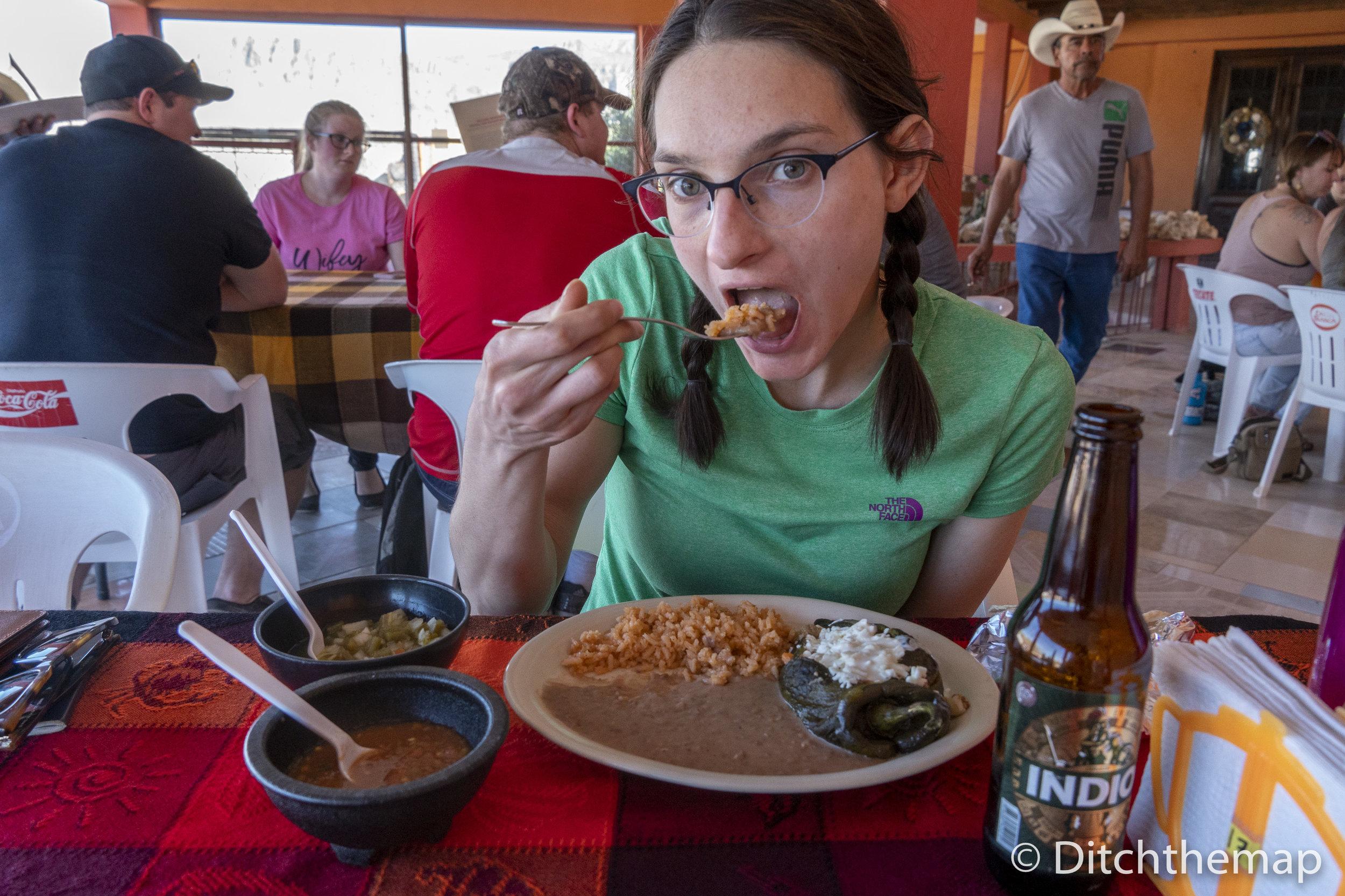 Sylvie enjoying a Mexican Lunch
