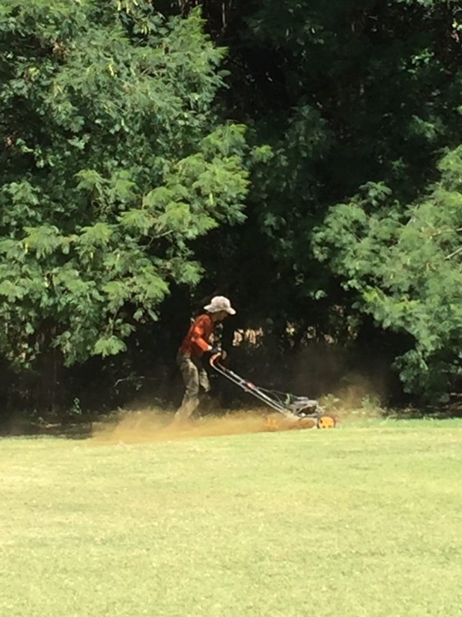 Scott mowing the lawn