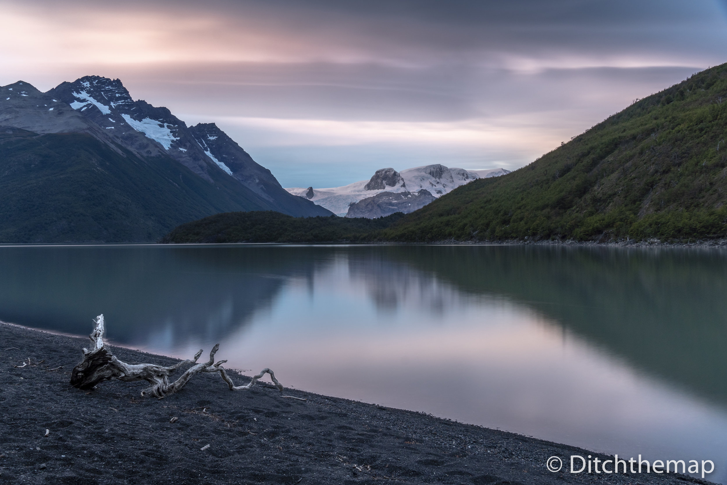 Glacier Dickson and Lago Dickson at Campsite Dickson while hikin