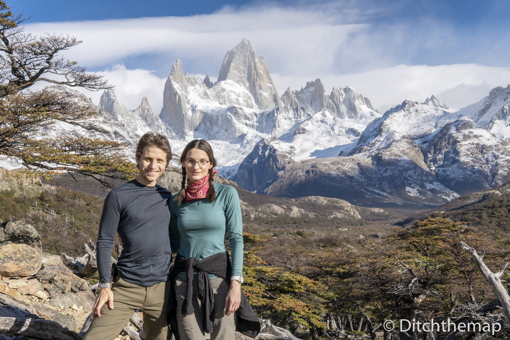 Scott and Sylvie at View of Mt. Fitz Roy