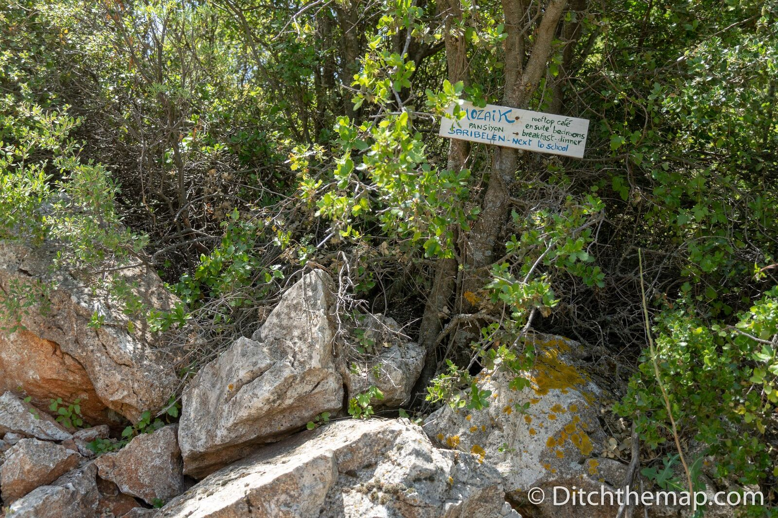 Homemade advertisement for Mosaik Pension in Saribelen on the Lycian Way