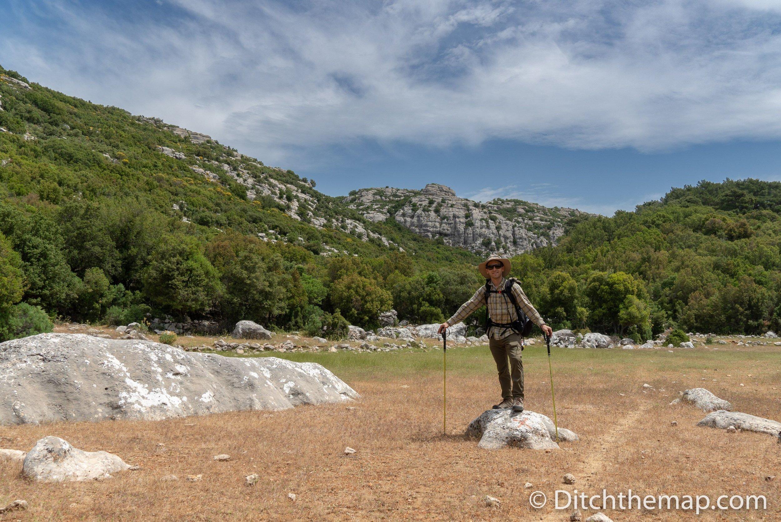 Scott hiking the Lycian Way toward Gökçeören