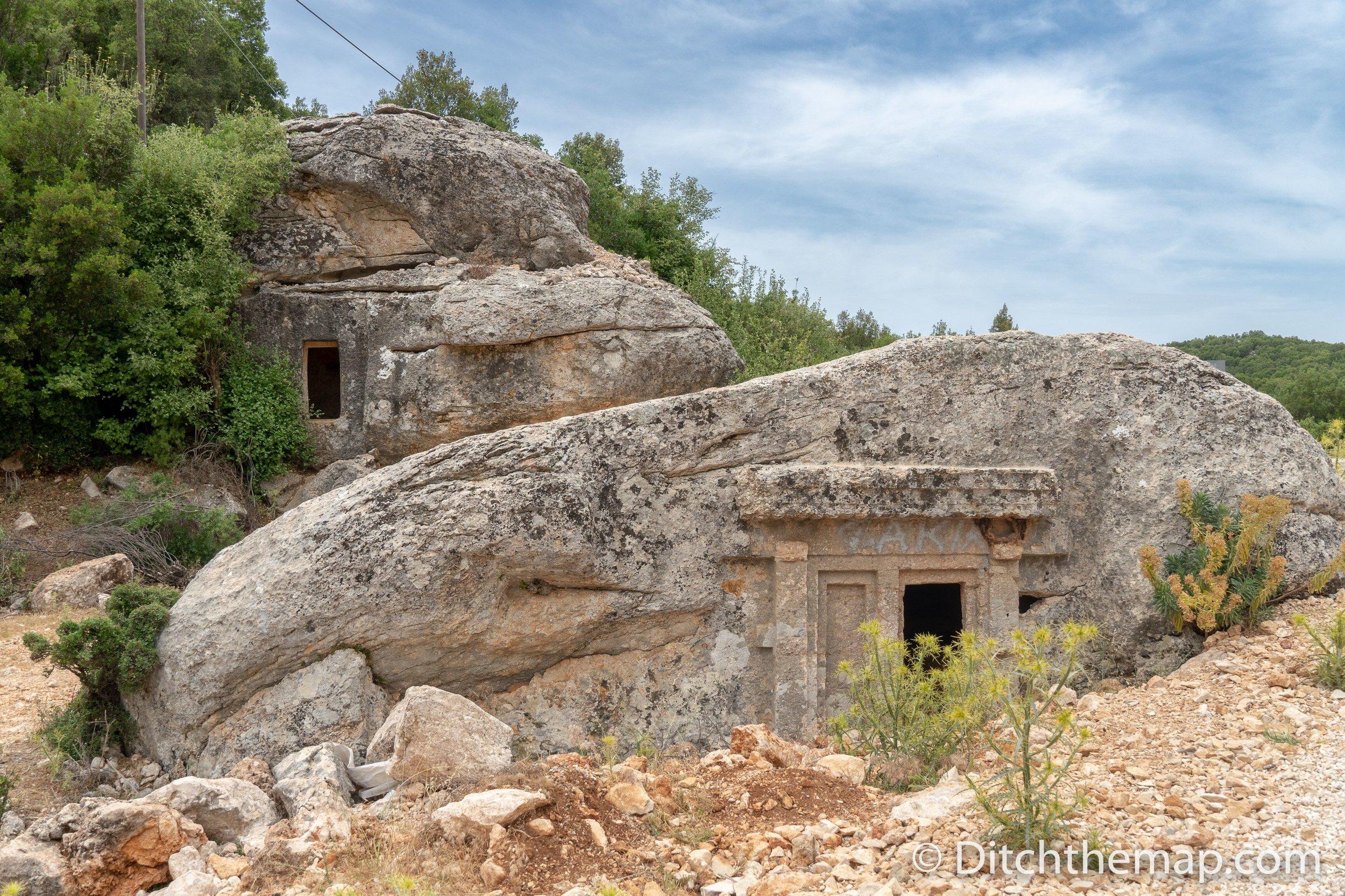 Curious rock tombs near Gökçeören