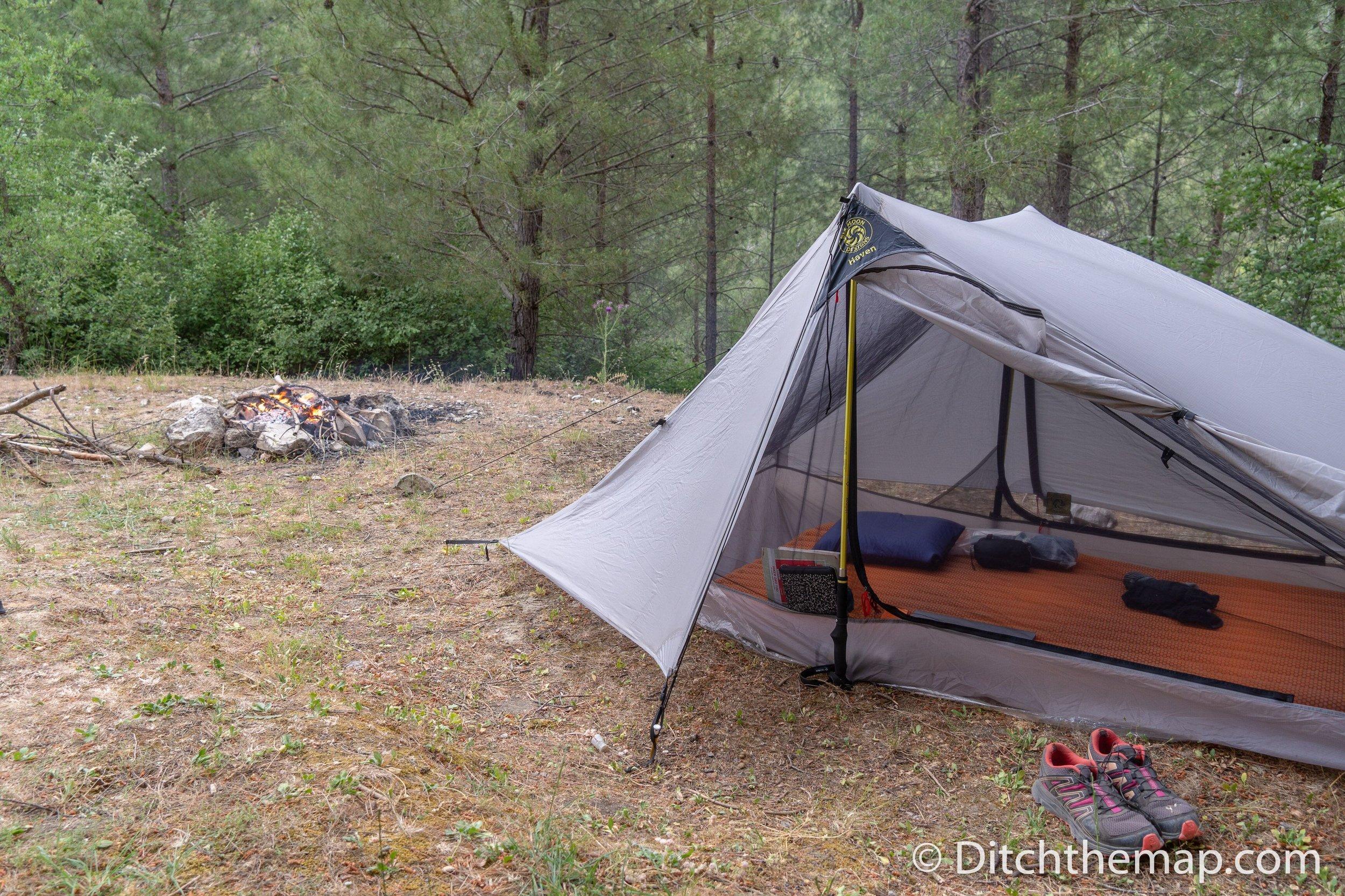 Campsite on the Lycian Way near Hacıoğlan Deresi