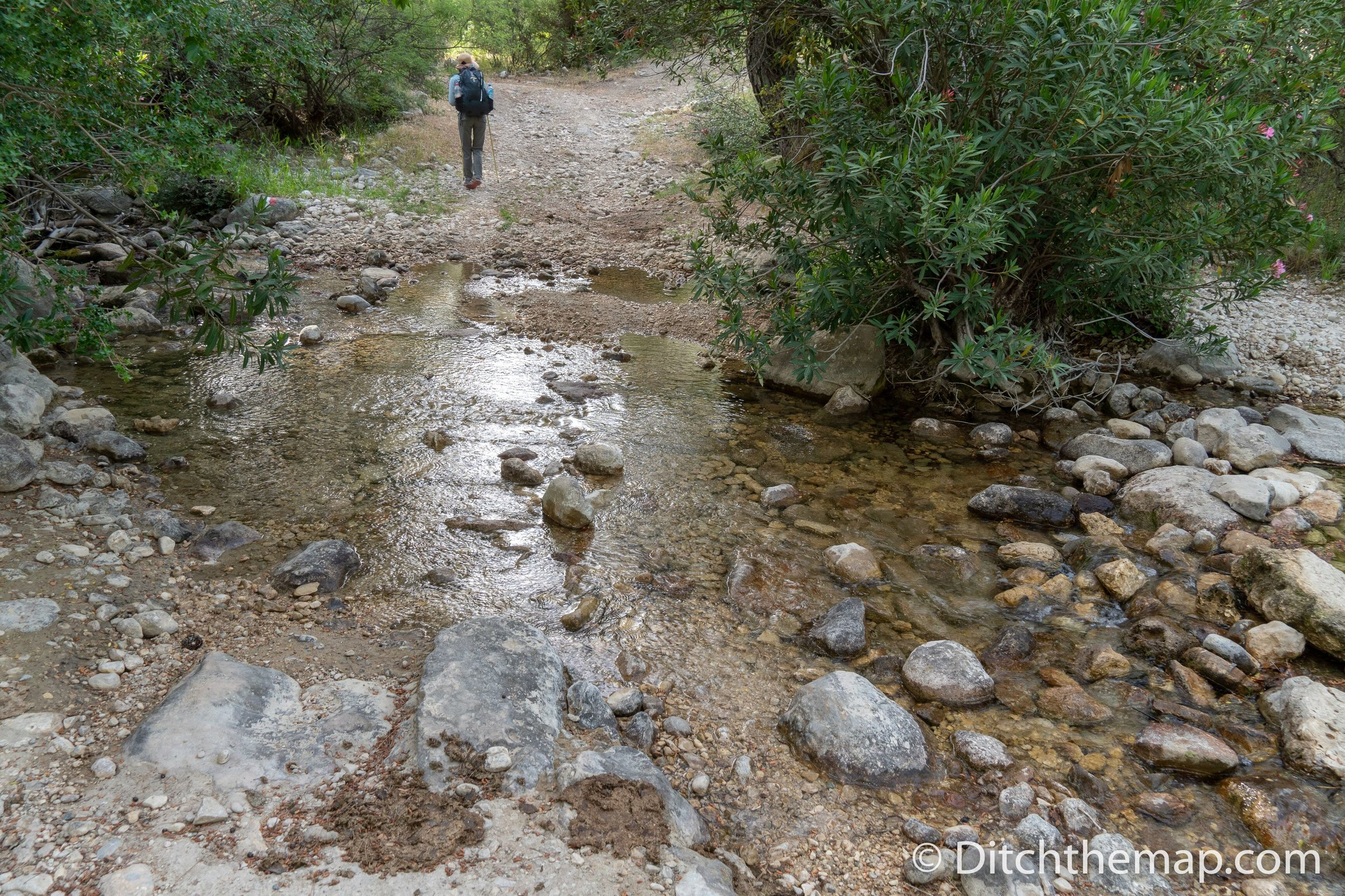 Crossing a stream near Hacıoğlan Deresi on the Lycian Way