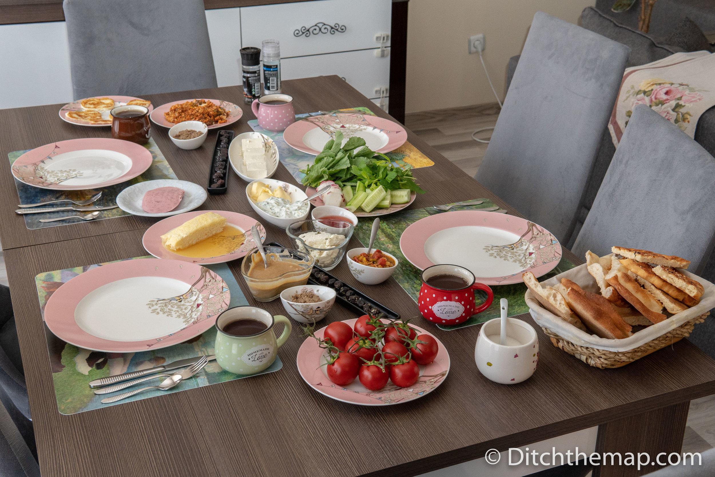 Enjoying a Traditional Kurdish Breakfast in Van, Turkey