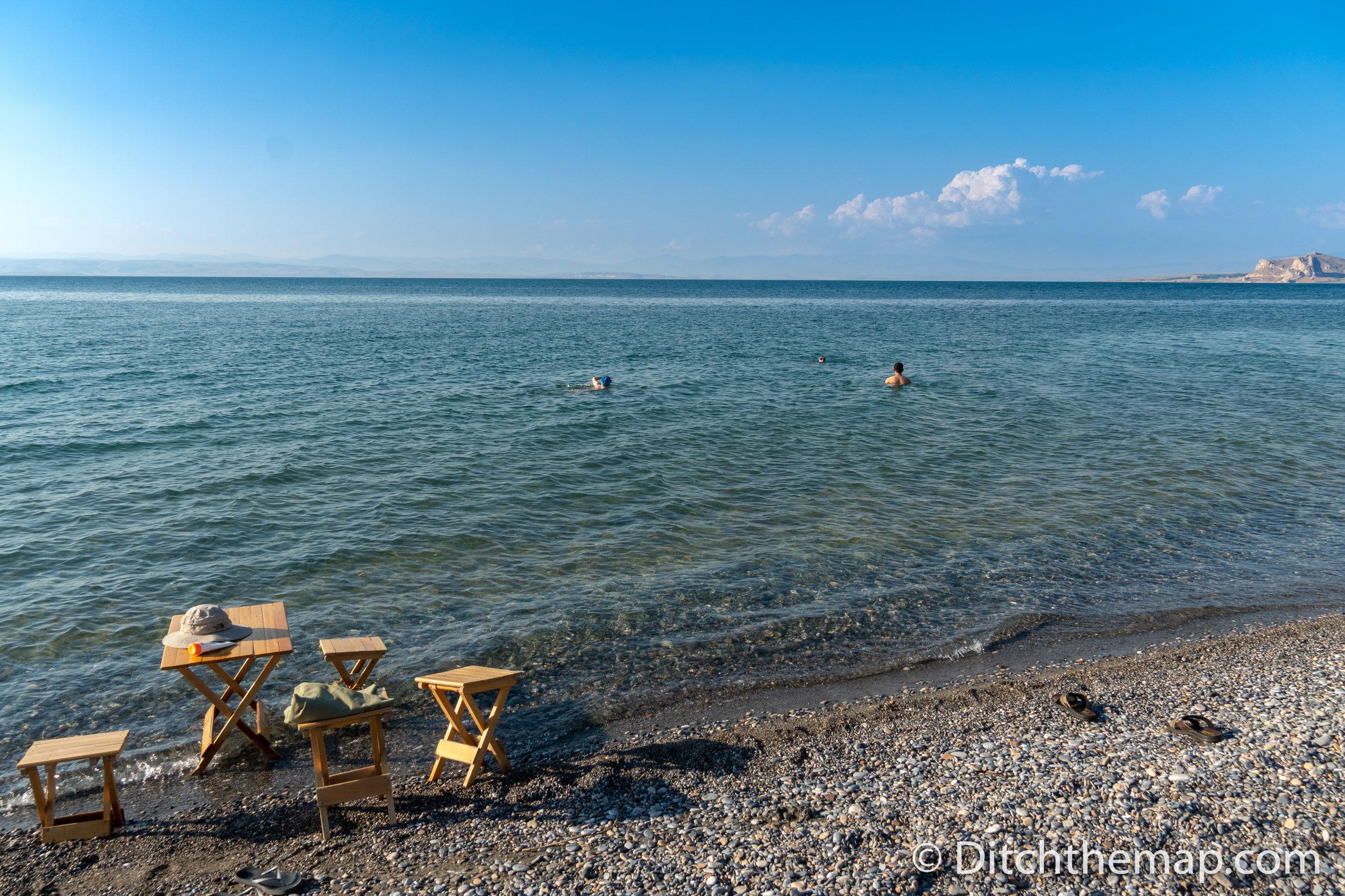 We Enjoy a Swim in Lake Van, Turkey
