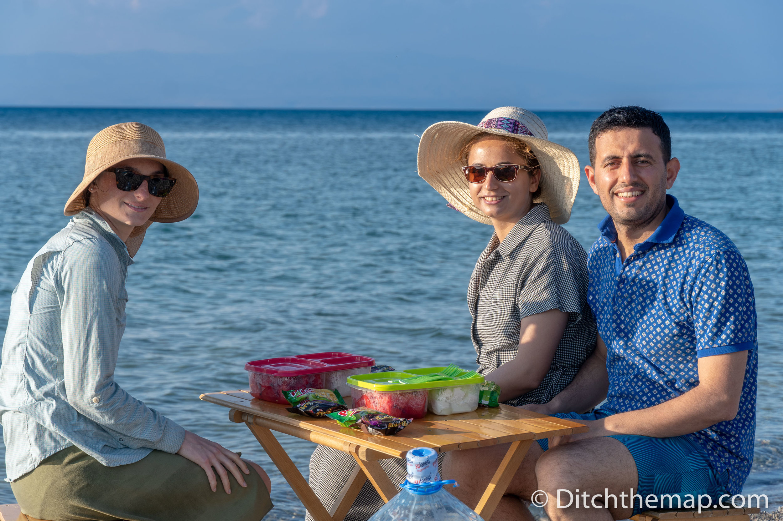 Enjoying a Snack with Our Friends at Lake Van, Turkey