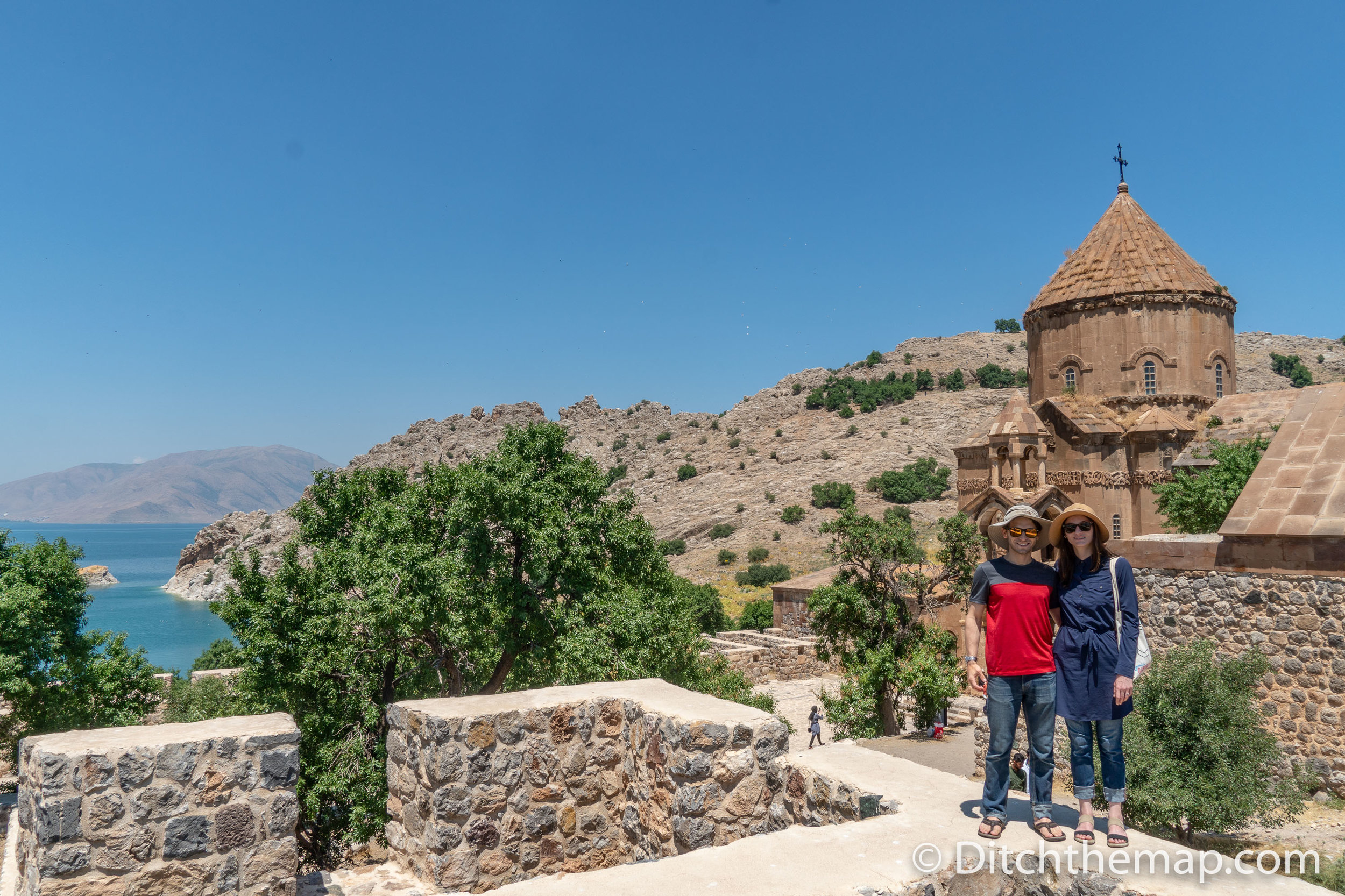 We Stand in front of the Armenian  Holy Cross Cathedral  on Akdamar Island in Lake Van