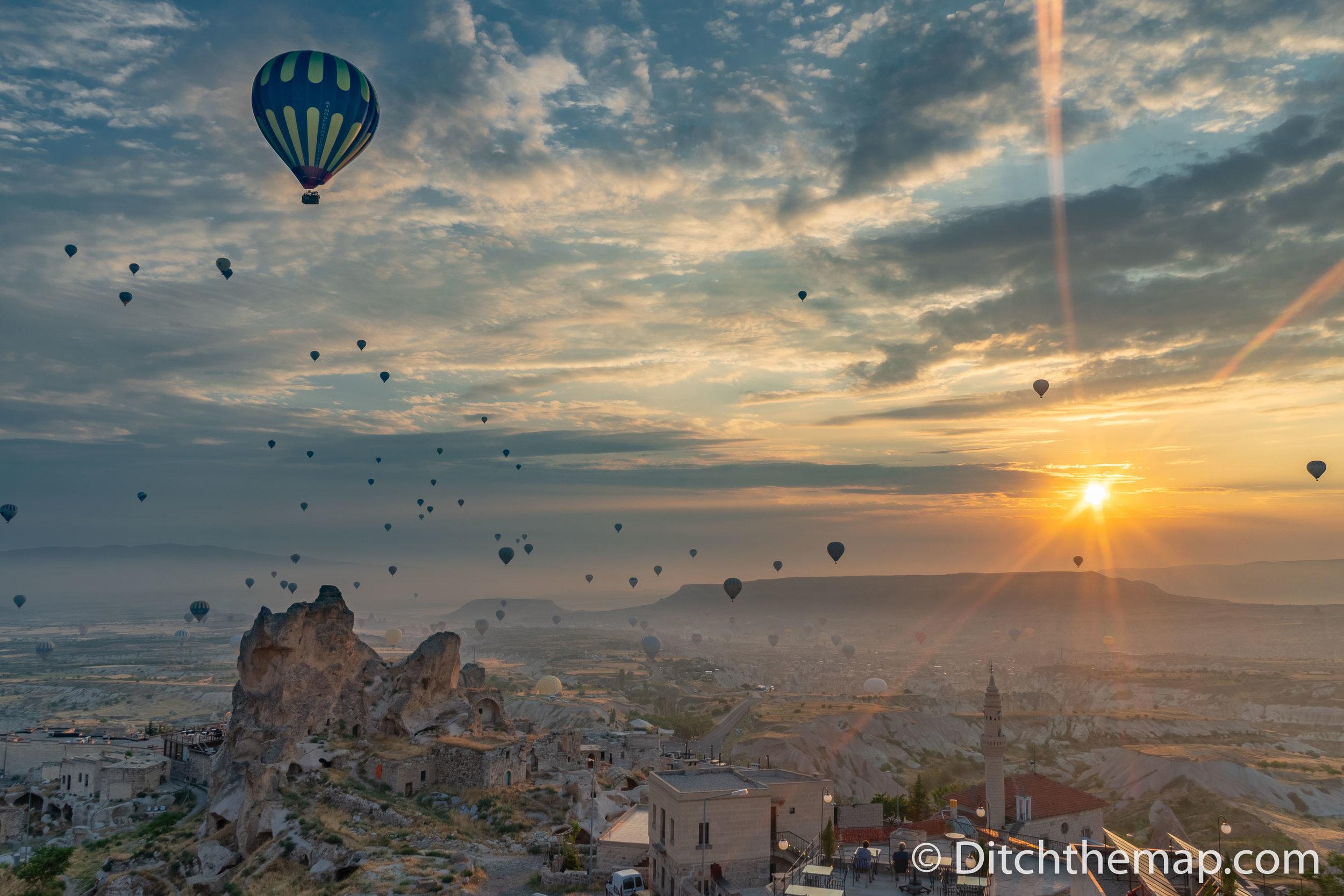 Balloons in the sky in Cappadocia Central Turkey