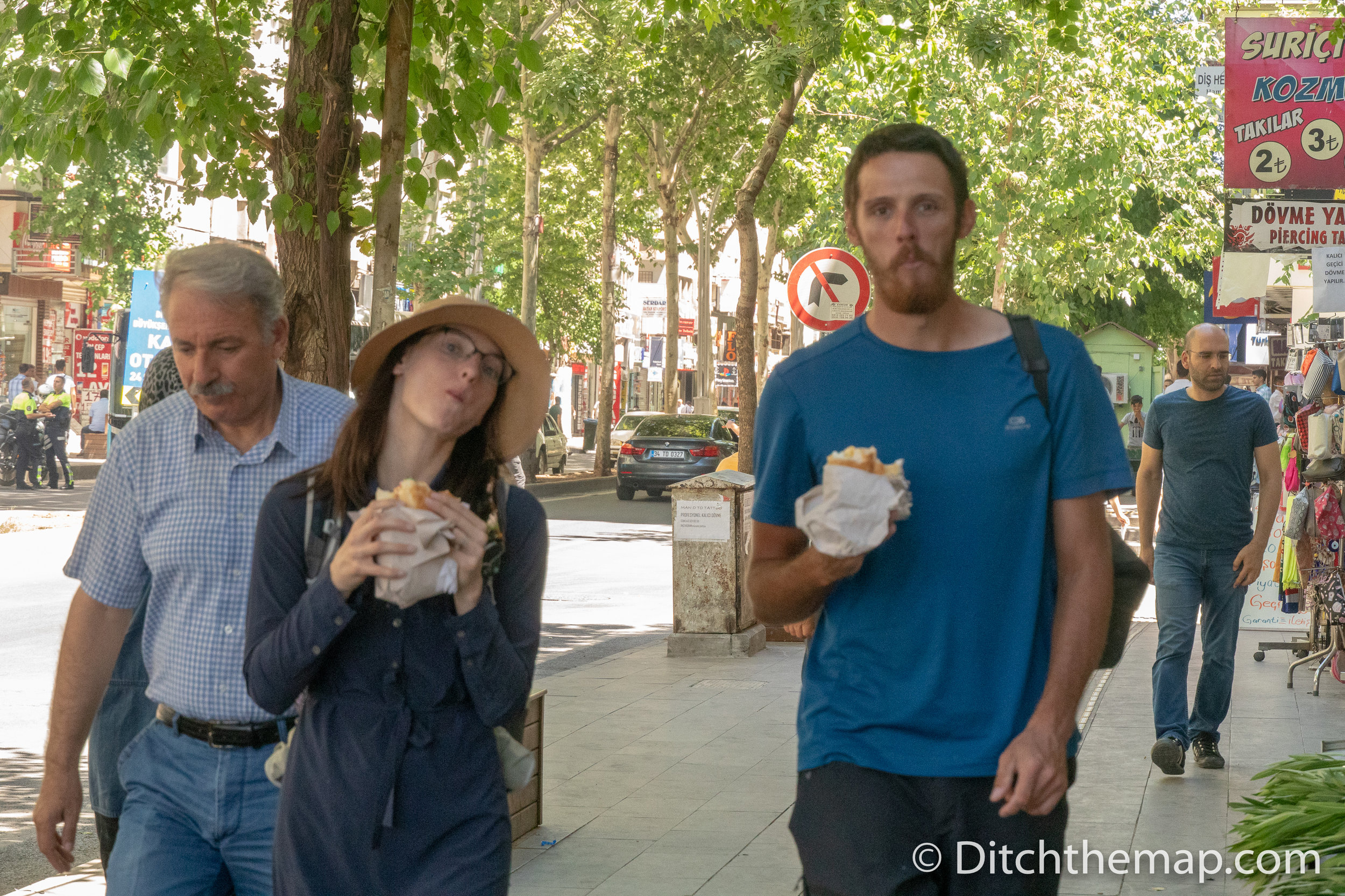 Sylvie and Robert enjoy a Turkish breakfast Sandwich in Diyarbakir