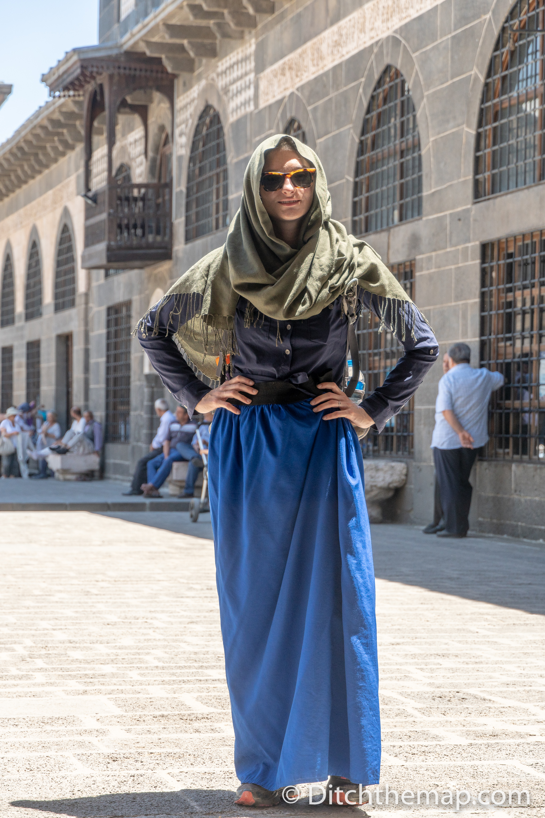 Sylvie dresses respectfully inside Mosque