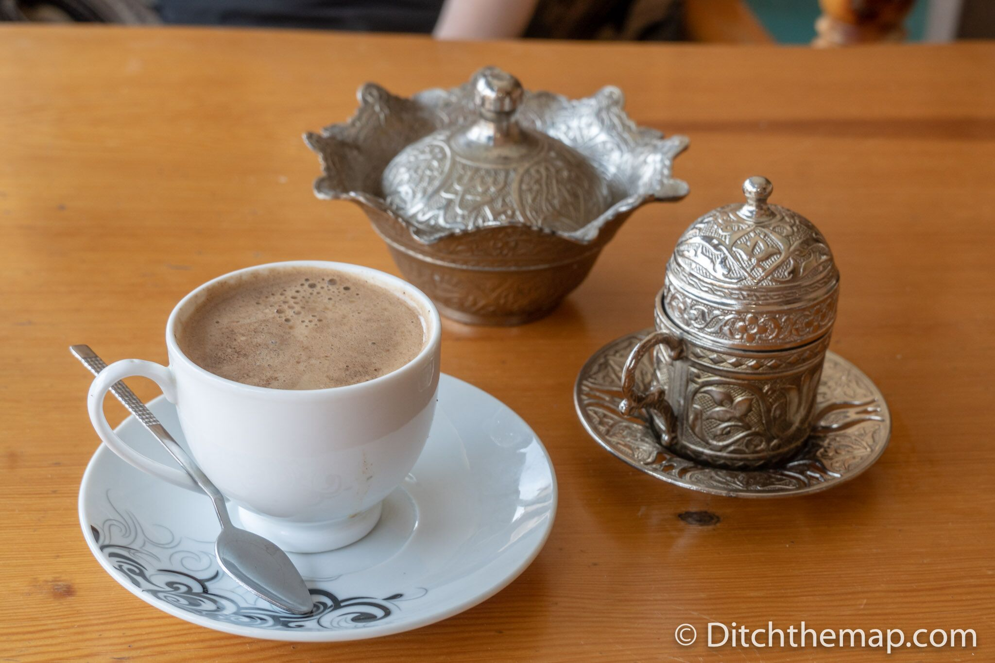 Drinking menengic (pistachio) coffee in Mardin, Turkey
