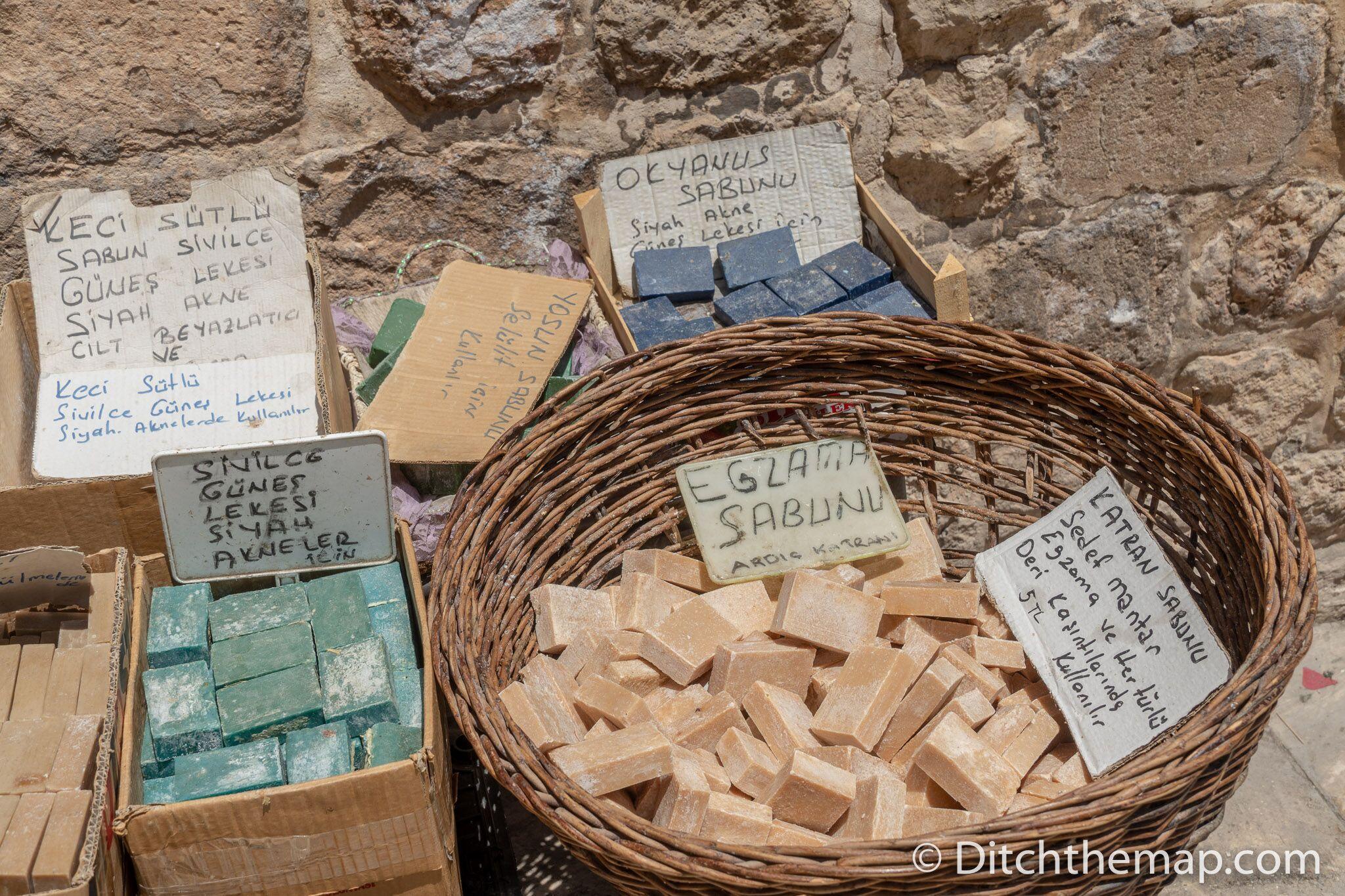 Homemade soap for sale on the street in Mardin, Turkey