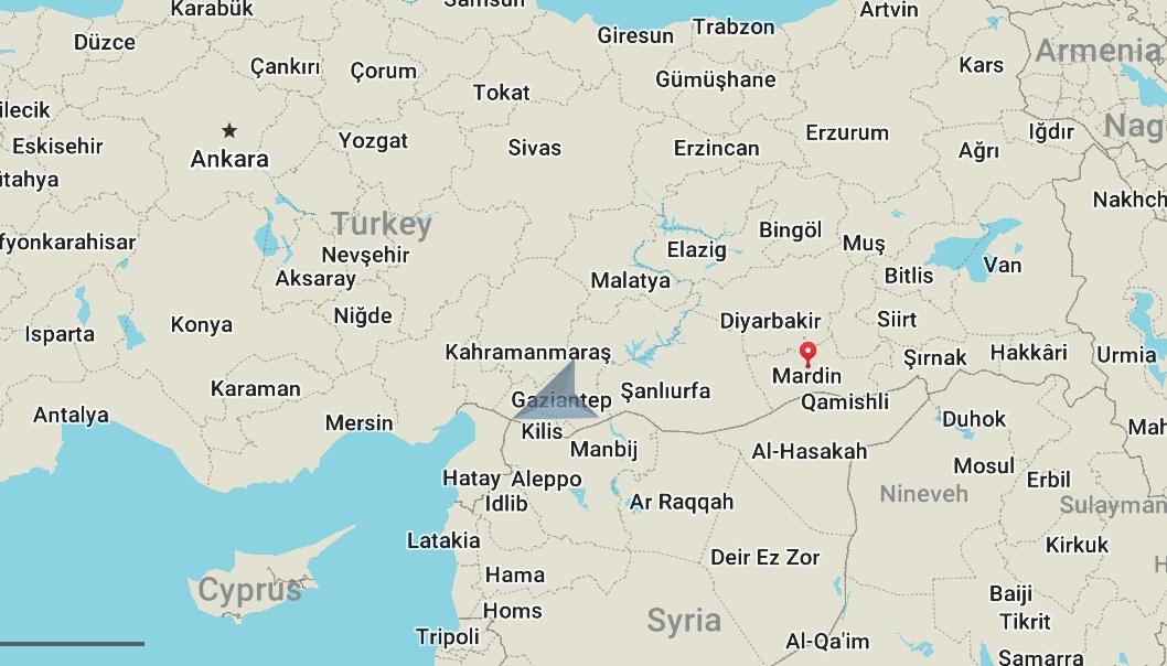 Mardin (the red dot) is located in southeastern Turkey.