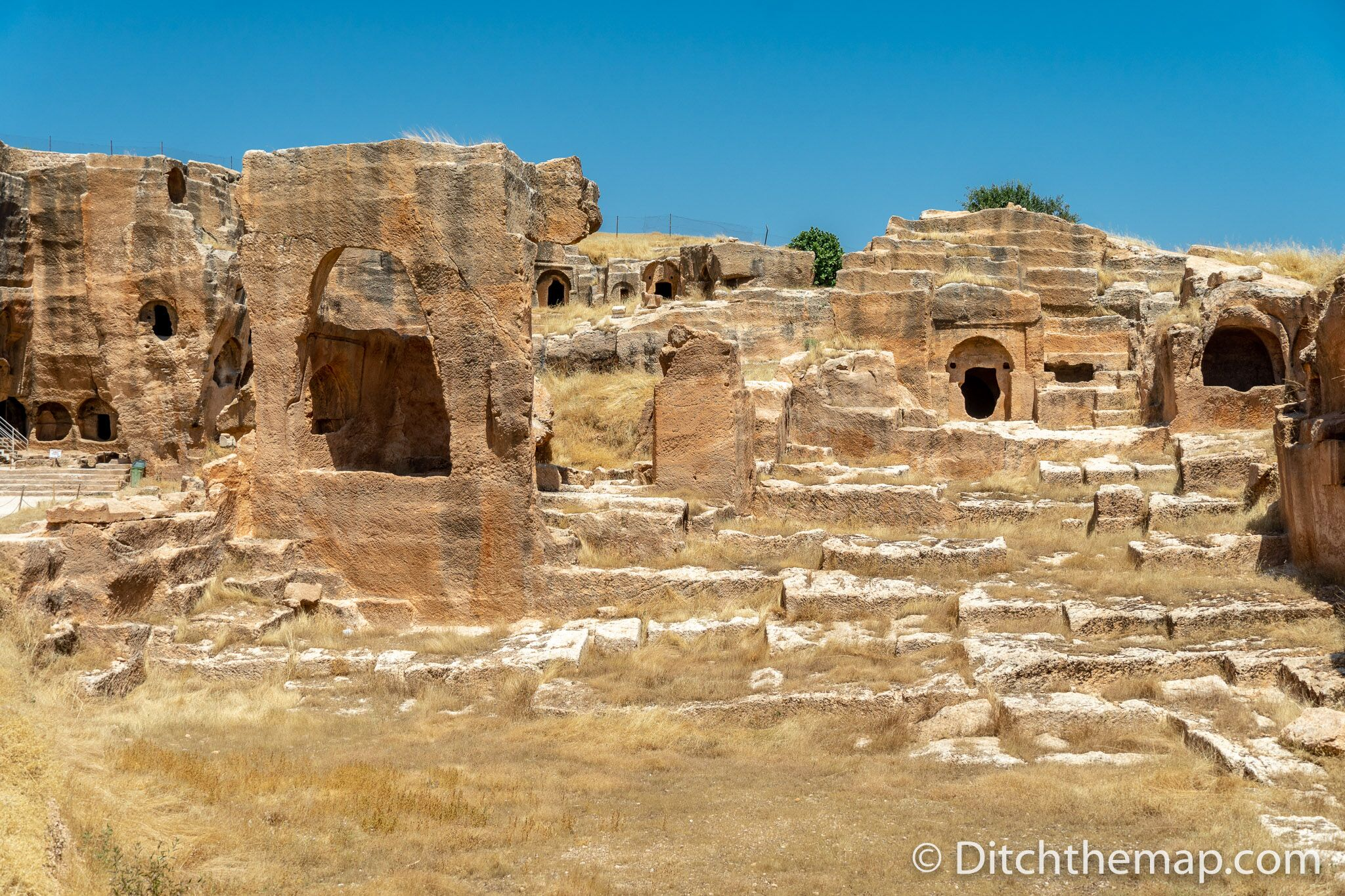 Tombs carved into rock in Dara, Turkey