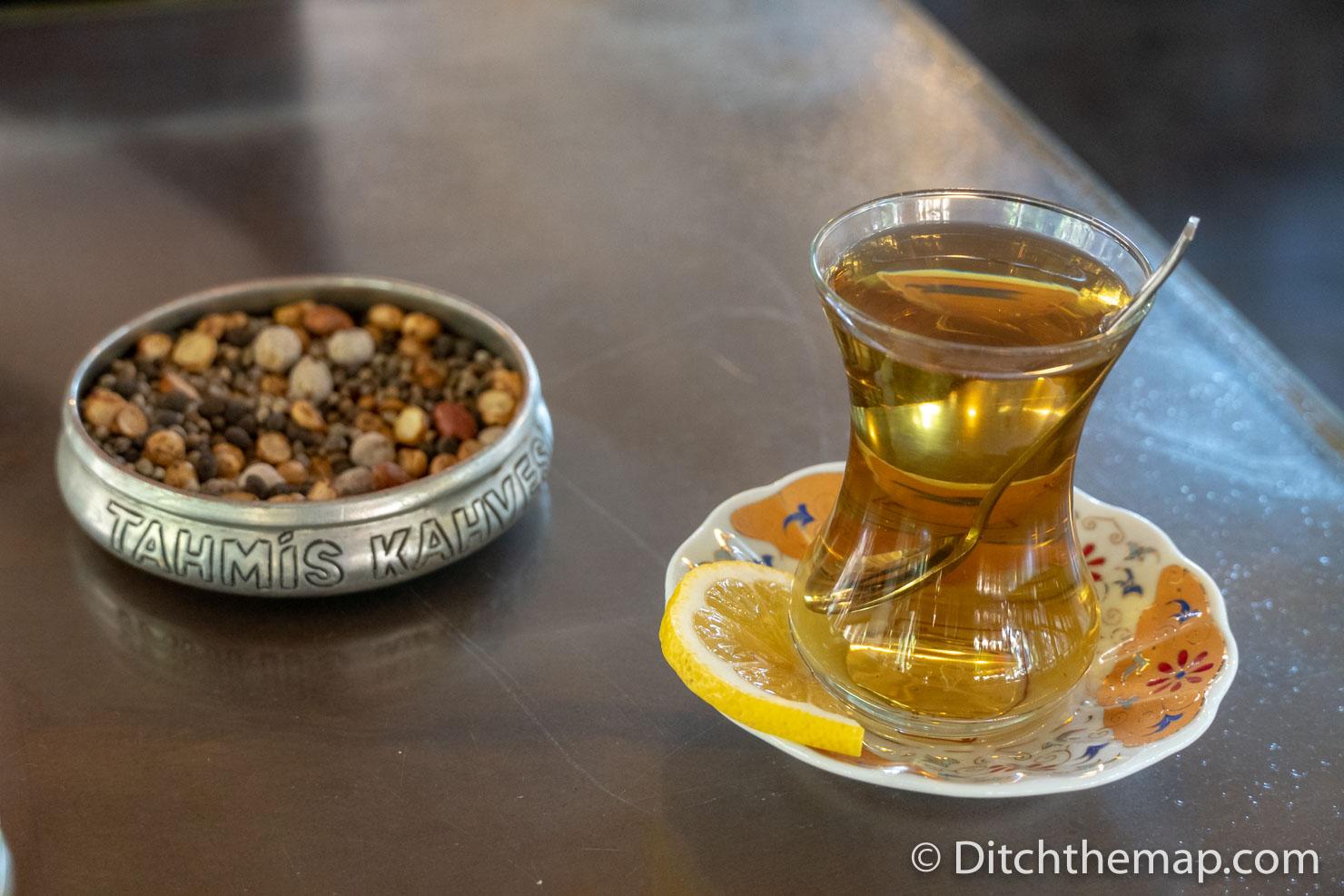 Drinking Kahter tea at Tahmis, Kahvesi