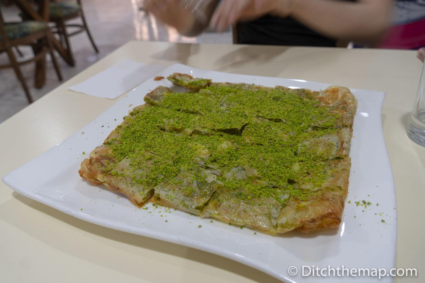 Close Up of Katmer Dessert
