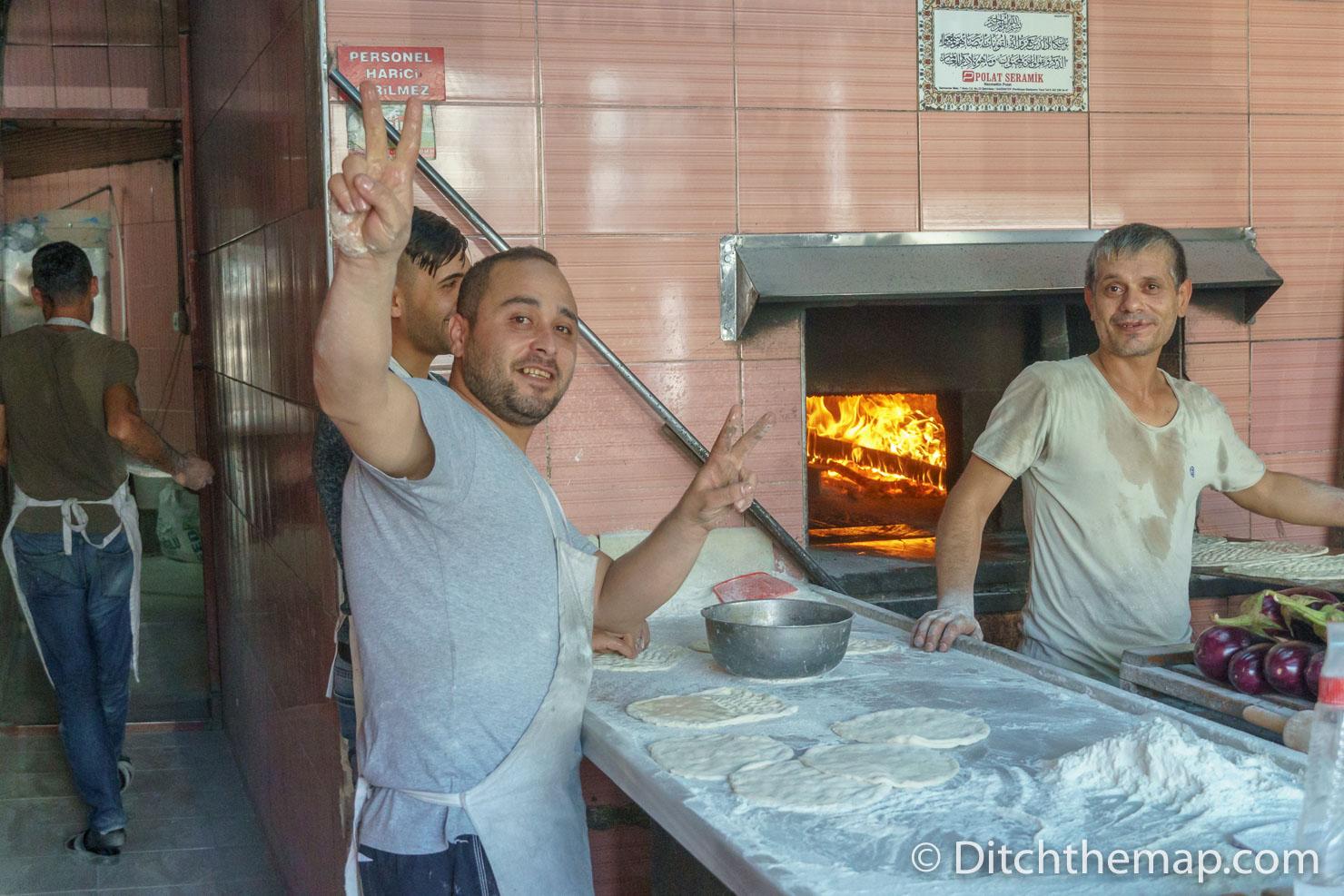 Men Baking Bread in Gaziantep, Turkey