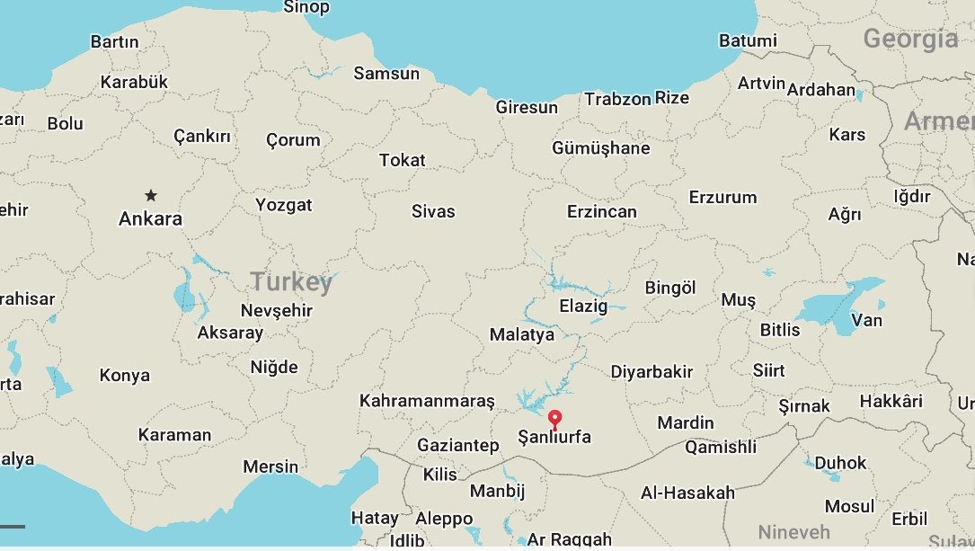 Sanliurfa, Turkey is represented by the red marker