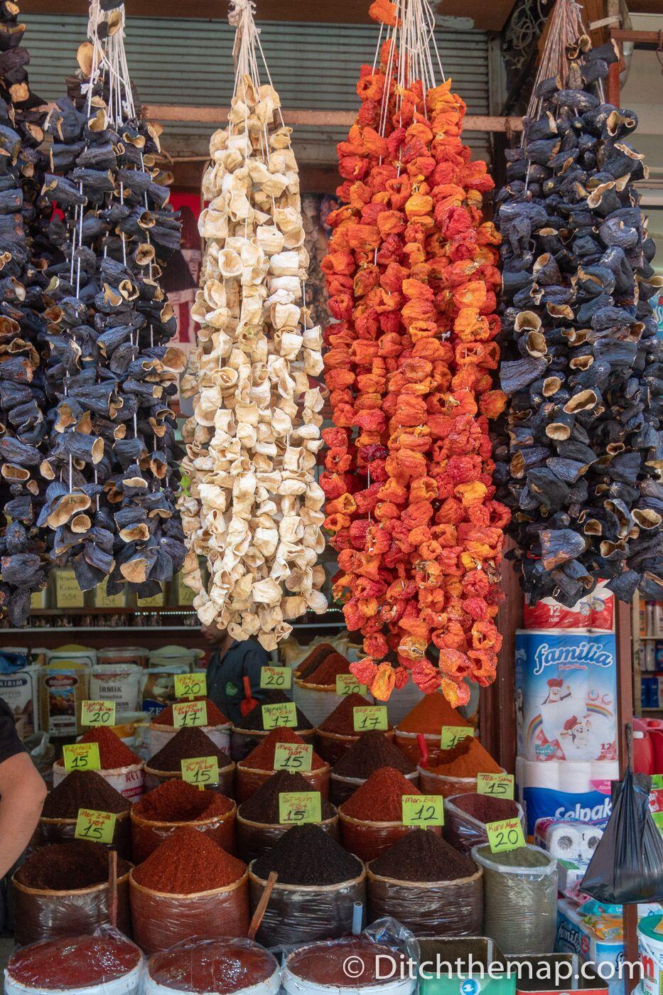 Dried vegetables hanging in the Gumruk Bazaar in Sanliurfa, Turkey