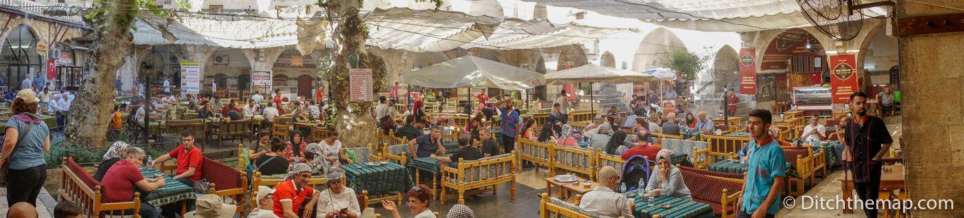 Buzzing cafes inside the Gumruk Bazaar courtyard