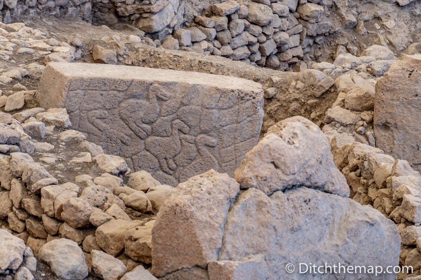 Stone engravings on limestone pillars at Gobekli Tepe