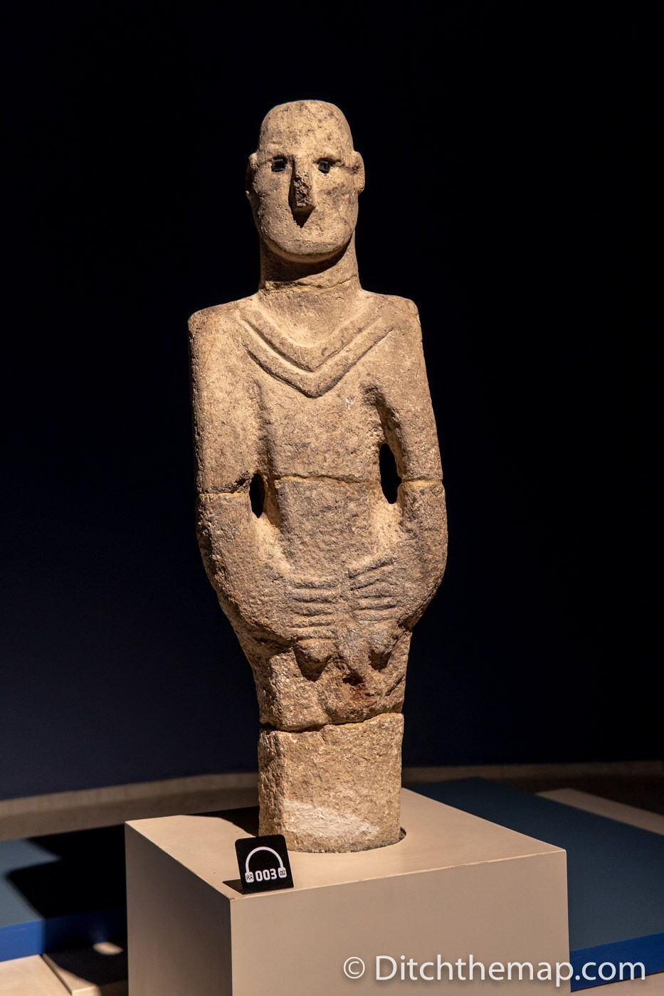 The Urfa Man - an 11,000 year old life-sized human sculpture at Sanliurfa Archeology Museum