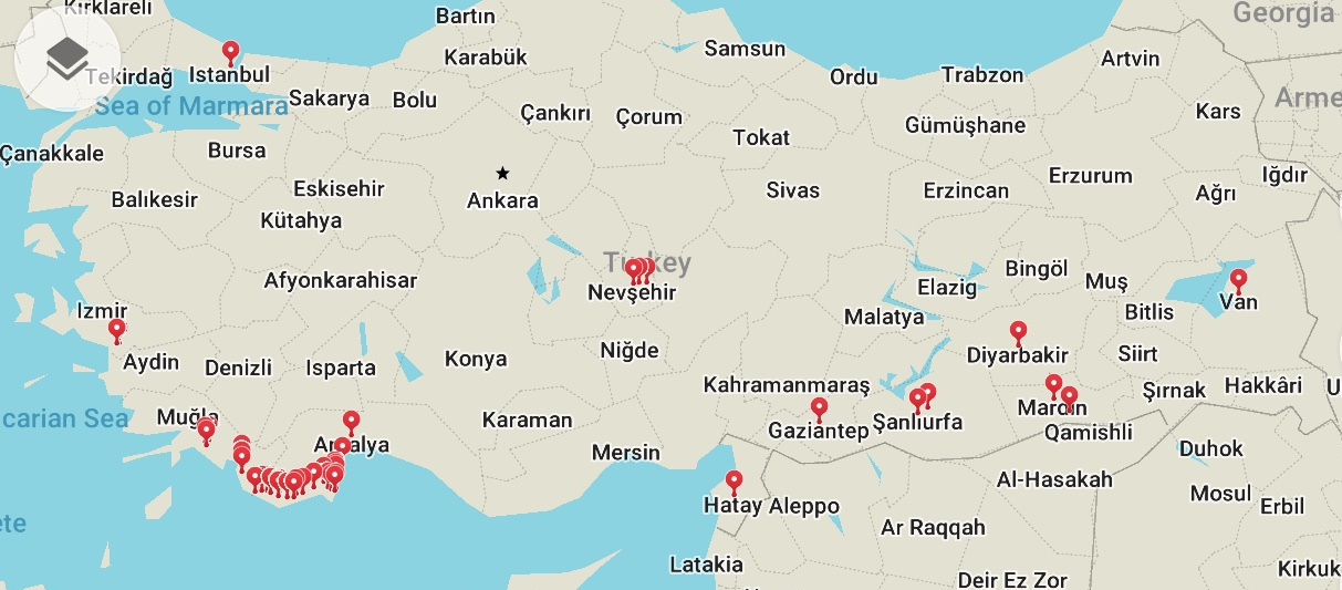 A map of the destinations we visited in Turkey