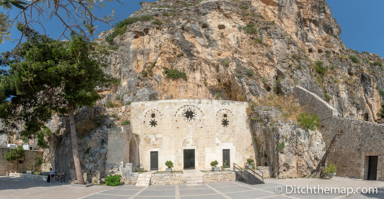 The stone facade of the Church of St. Peter in Antakya, Hatay