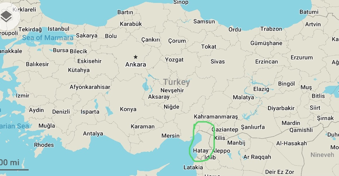 Hatay province is in the southern most region of Turkey