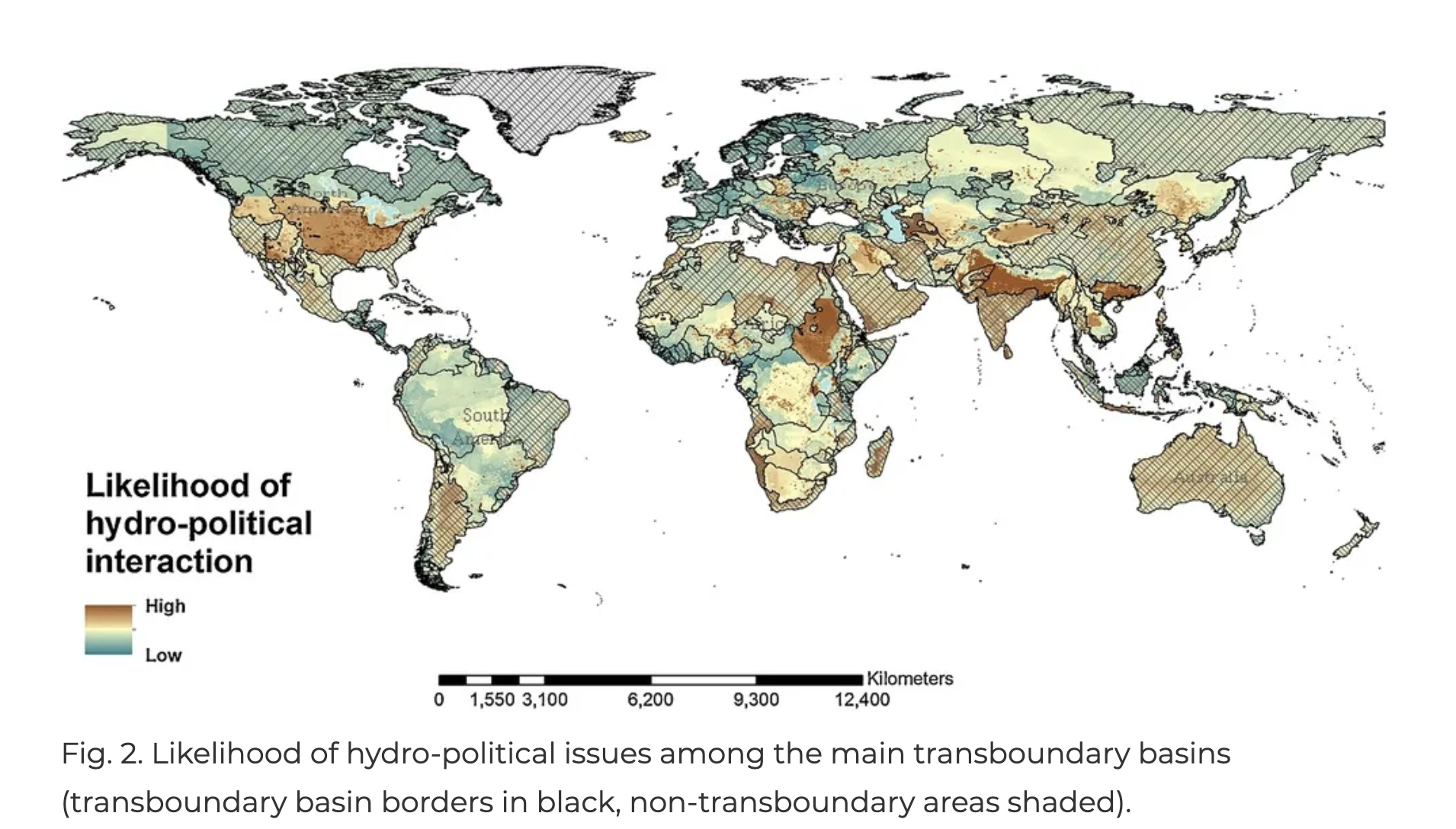Map of Likelihood of hydro-political interactions