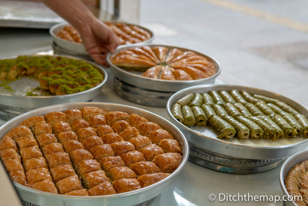 Tasty varieties of baklava in Gaziantep, Turkey